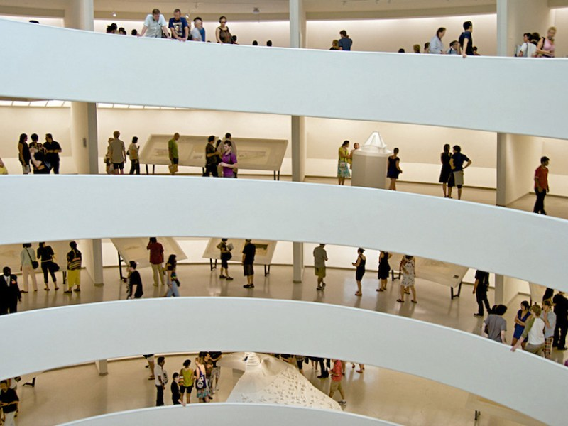 The interior of the Guggenheim museum in New York City (photo by Wallygva, via Wikimedia Commons)