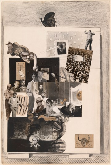 """Max Ernst, """"Loplop Introduces Members of the Surrealist Group"""" (""""Loplop présente les membres du groupe surréaliste,"""" 1931), cut‑and‑pasted gelatin silver prints, cut‑and‑pasted printed paper, pencil, and pencil frottage on paper, 19 3/4 x 13 1/4 in, the Museum of Modern Art, New York, purchase, 1935 (photo by John Wronn, © 2017 Artists Rights Society/ARS, New York / ADAGP, Paris)"""