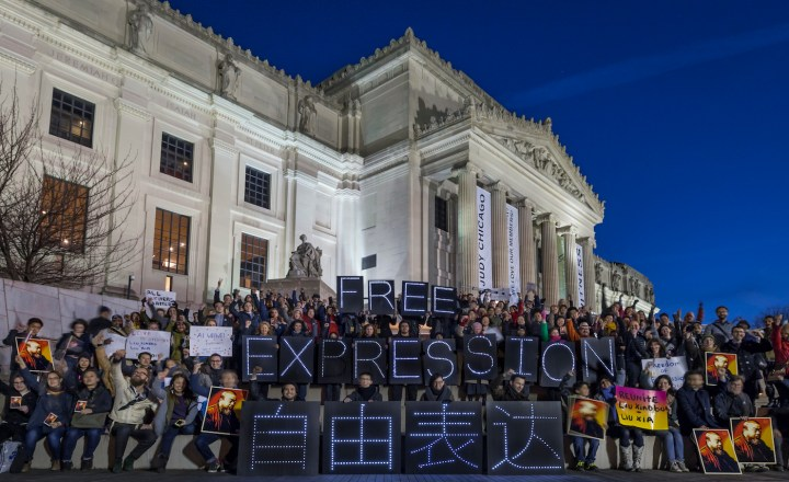 A rally at the Brooklyn Museum organized by Art Action Day participant PEN America (courtesy PEN America)