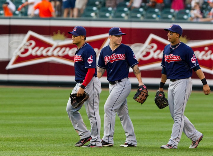 The Chief Wahoo logo as it appears on Cleveland Indians uniforms (photo by Keith Allison/Flickr)