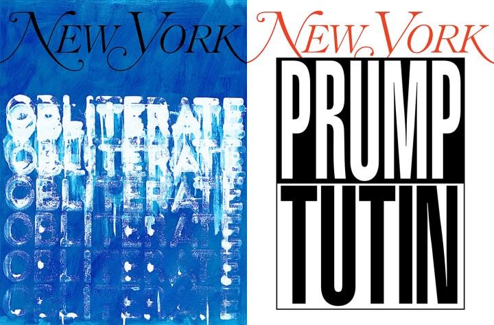 """My New York Artist Covers: Mel Bochner"" (left), and ""My New York Artist Covers: Barbara Kruger"" (right)"