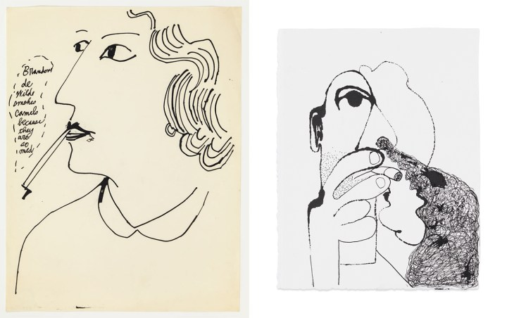 """Left: Andy Warhol, """"Brandon De Wilde Smokes Camels Because They Are So Mild"""" (ca 1953), ink on white Riverside Bond paper, 11 x 8 1/2 in (courtesy Anton Kern Gallery, New York; © The Andy Warhol Foundation for the Arts, Inc.); right: Nicole Eisenman, """"Smoker"""" (2017), ink on paper, 11.5 x 8.75 in (courtesy Anton Kern Gallery, New York; © Nicole Eisenman)"""
