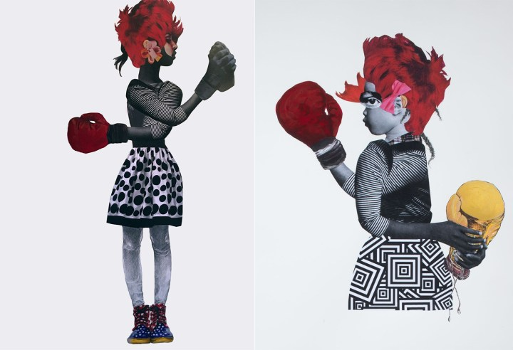 """Deborah Roberts, """"Tug of War"""" (2017, left), private collection; and Deborah Roberts, """"Rope a Dope"""" (2017, right), private collection (both images courtesy of the artist)"""
