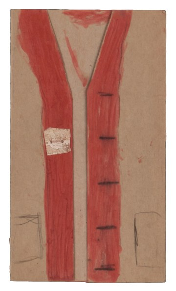"James Charles Castle, ""Untitled (Vest)"" (nd), found paper, color of unknown origin, soot, string, 9 3/8 x 5 3/8 in (collection of The William Louis-Dreyfus Foundation Inc.; © 2018 James Castle Collection and Archive LP)"