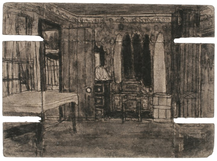 "James Charles Castle, ""Untitled (patterned room)"" (nd), found paper, soot, 5 1/4 x 7 1/4 in (collection of The William Louis-Dreyfus Foundation Inc.; © 2018 James Castle Collection and Archive LP)"