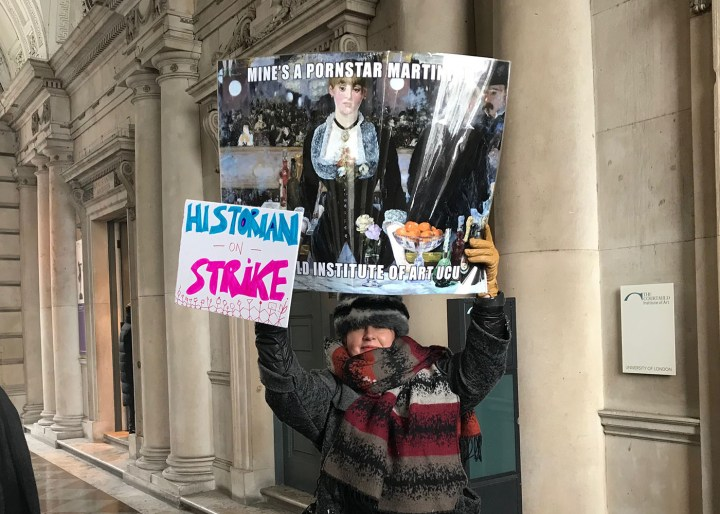 Professor Sarah Wilson from the Courtauld Institute with her protest sign yesterday