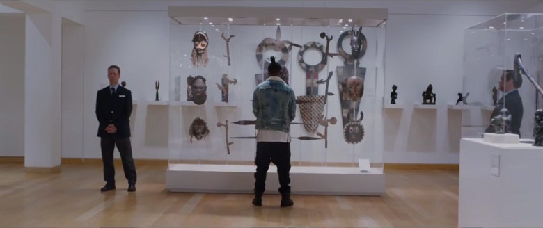 """The """"Museum of Great Britain"""" scene from Black Panther (2018) (courtesy Walt Disney Studios Motion Pictures)"""