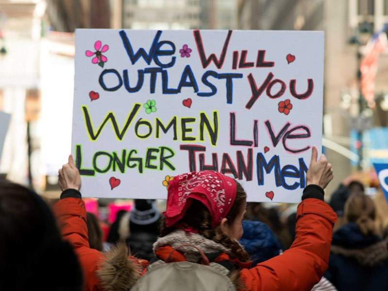 A demonstrator at the 2018 Women's March in New York City (photo by Young Sun Han)