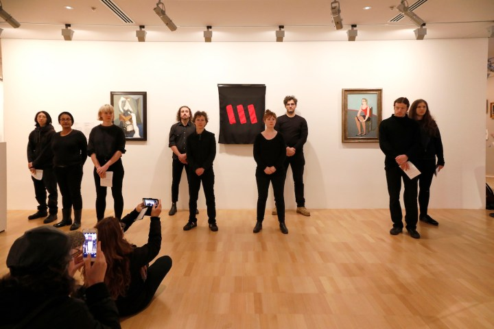 A performance protest inside the National Gallery of Victoria (photo by Tatjana Plitt, courtesy the Artists' Committee)