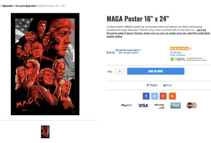 A poster for sale on the InfoWars web store featuring Pepe the Frog (screenshot by the author)