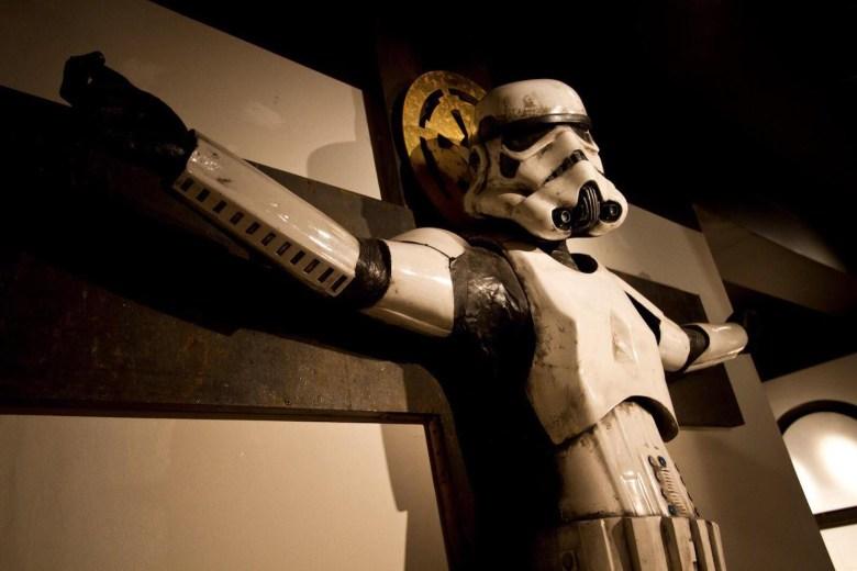 """Ryan Callanan's """"Stormtrooper Crucifixion"""" during a previous installation"""