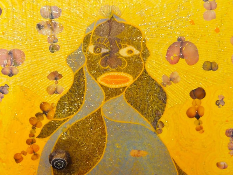 """Chris Ofili, """"The Holy Virgin Mary"""" (1996) (photo by the author for Hyperallergic)"""