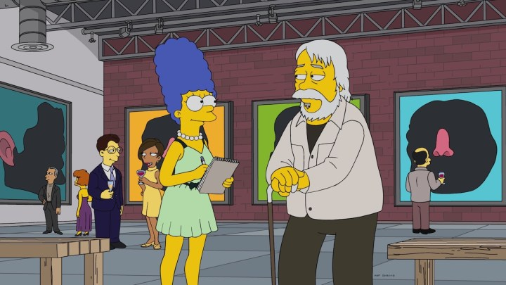 John Baldessari's appearance in episode 13 of season 29 of <em srcset=
