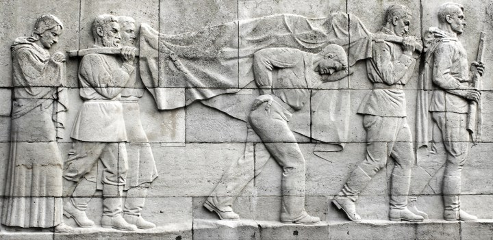 A war scene depicted in one of the monuments found in Treptower Park and seen in Victory Day (2018)