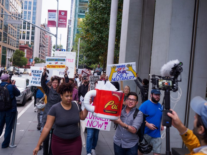 A net neutrality march in San Francisco in September 2017 (photo by Credo Action, via Wikimedia Commons)