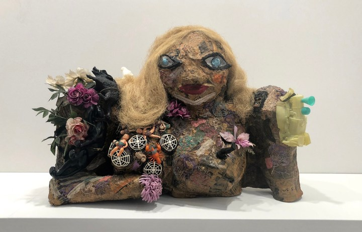 "Niki de Saint Phalle's ""Marilyn"" in the Galerie Georges-Philipe booth at TEFAF New York"