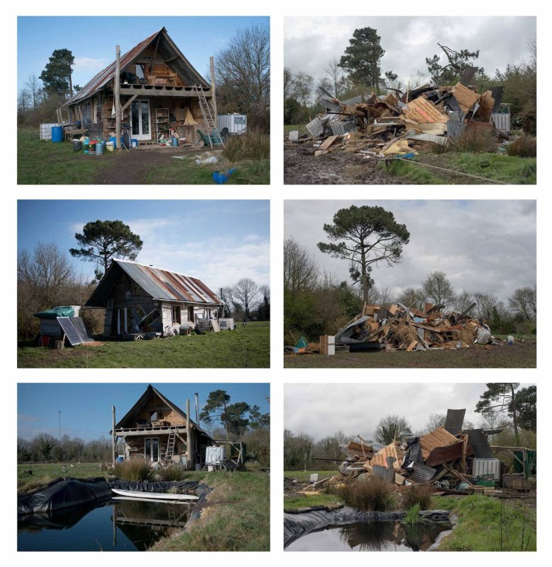Before and after photos of houses in the ZAD following last month's eviction raids (photos by Penelope Thomaidi, courtesy ZAD Forever)