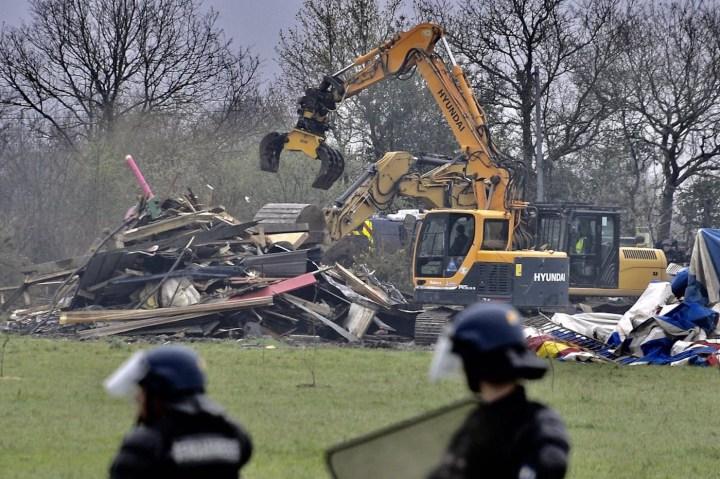 A ZAD home being demolished (photo courtesy John Jordan)