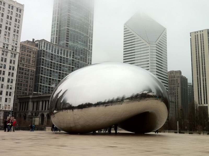 "Anish Kapoor, ""Cloud Gate"" (2006) (photo by Ines Hegedus-Garcia, via Flickr)"