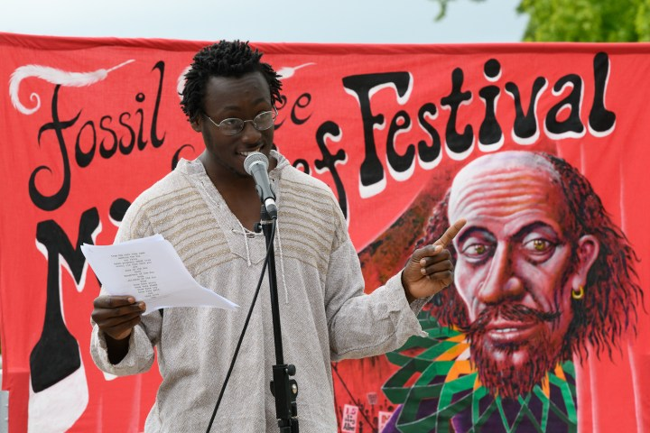 Nadeem Din-Gabisi performs poetry. (photo by Ron Fassbender)