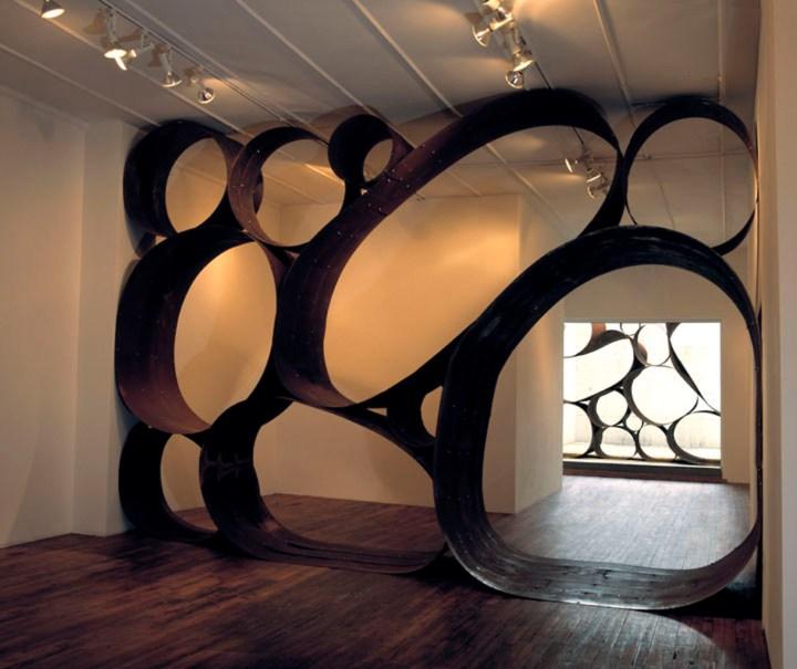 "Dewitt Godfrey, ""Picker Sculpture"" site-specific installation in Black & White Gallery/Project Space's Williamsburg space (2004)"