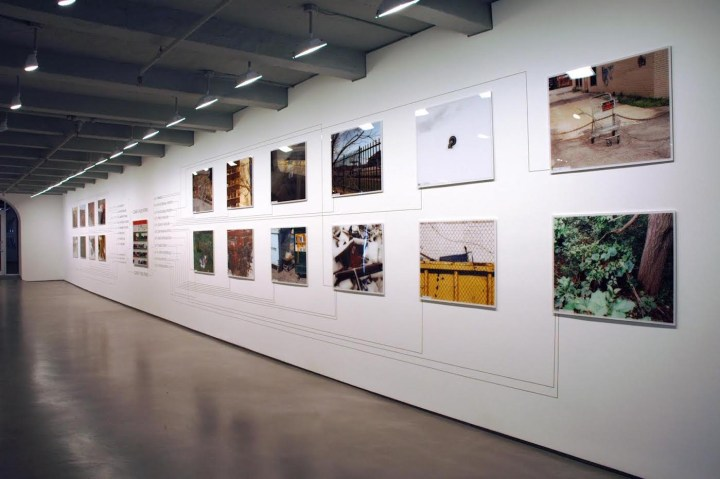 Installation view of Julian Montague's The Stray Shopping Cart Identification System (2006) at Black & White Gallery/Project Space's Chelsea location