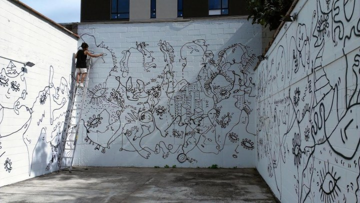 Installation view of Shantell Martin's Continuous Line (2012) at Black & White Gallery/Project Space's Williamsburg location