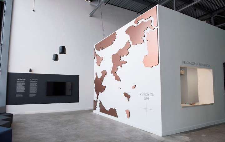 Installation view of the Shipyard Gallery at the ICA Watershed (photo by Liza Voll Photography)
