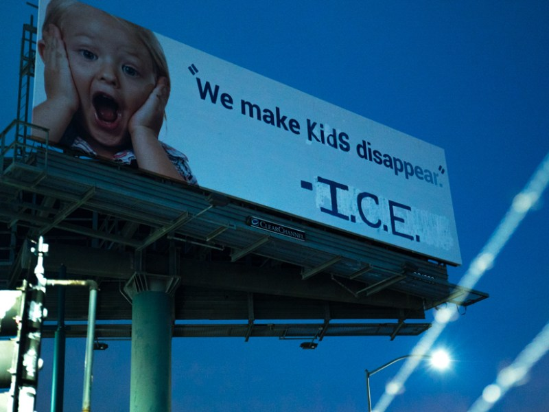 The billboard after Indecline's intervention (photo courtesy Indecline)