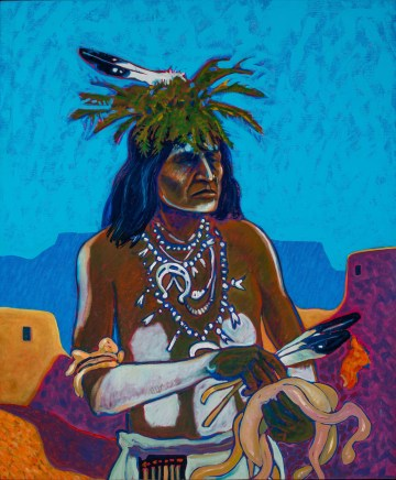 """T.C. Cannon, """"Small Catcher"""" (1973–78), oil on canvas, collection of Gil Waldman and Christy Vezolles (© 2017 Estate of T.C. Cannon; courtesy of the Heard Museum, Phoenix, Arizona; photo by Craig Smith)"""