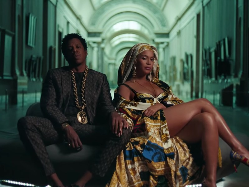 Beyoncé and Jay-Z in a gallery at the Louvre