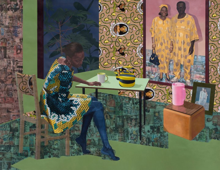 "Njideka Akunyili Crosby, ""Dwell: Aso Ebi"" (2017), the Baltimore Museum of Art, purchased as the gift of Nancy L. Dorman and Stanley Mazaroff, Baltimore, in Honor of Kristen Hileman (courtesy the Baltimore Museum of Art)"