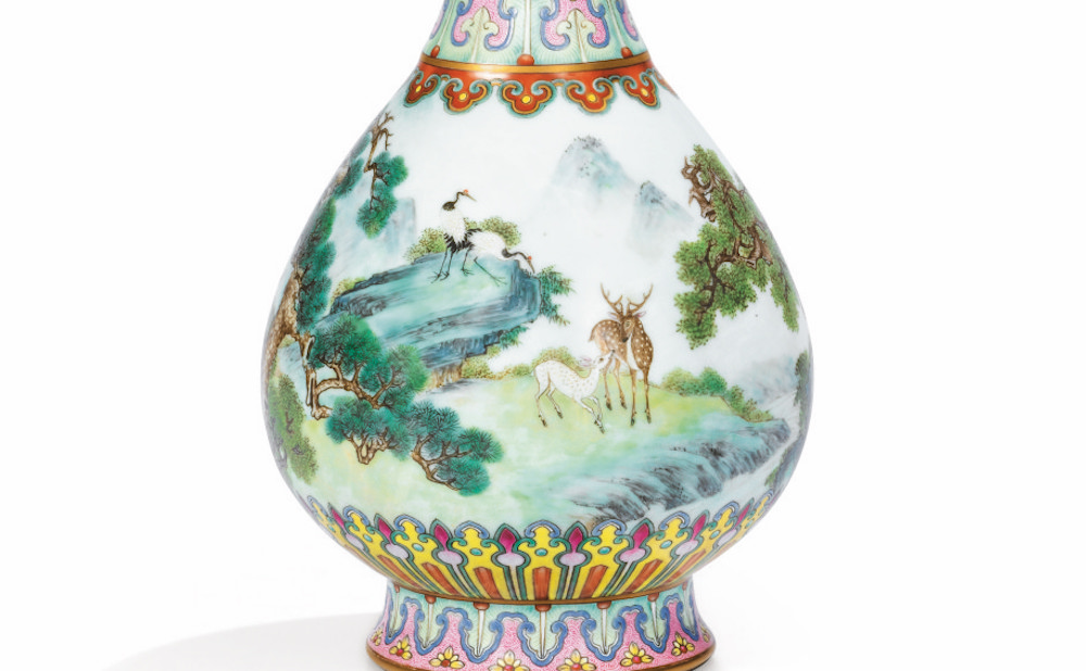 """The """"Yangcai Crane-and-Deer Ruyi Vase"""" (18th century) sold at Soteby's Paris on June 12 for €16,182,800 (~$18.8 million) (image courtesy Sotheby's / Art Digital Studio)"""
