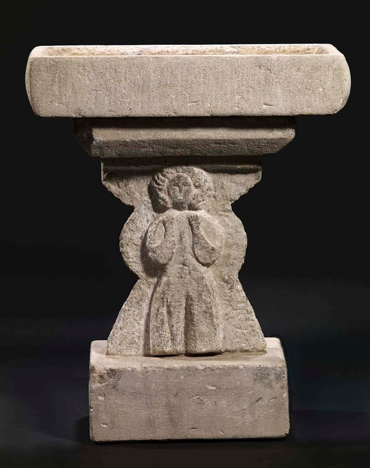 "William Edmondson, ""Untitled (Bird Bath with Figures)"" (ca 1932–40), carved limestone (courtesy Smithsonian American Art Museum, the Margaret Z. Robson Collection, gift of John E. and Douglas O. Robson)"