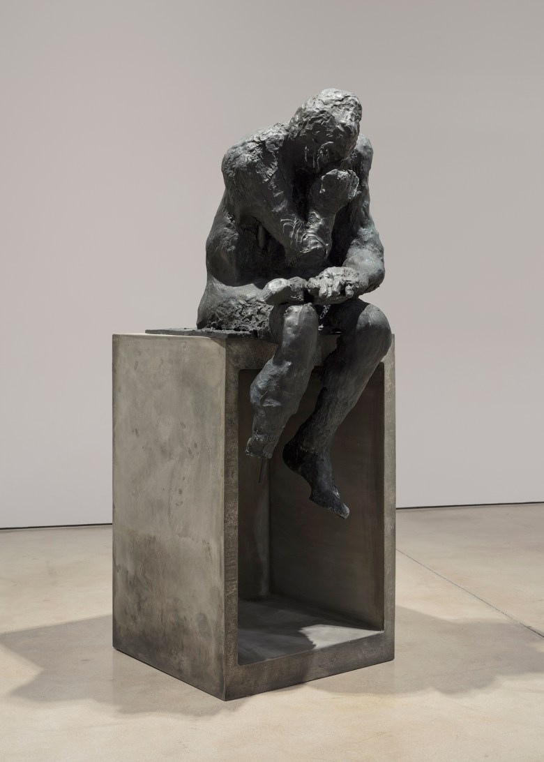"Liz Glynn, ""Untitled (After Thinker)"" (2014), cast bronze, 57 x 22 x 31 in. (photo by Steven Probert) (image courtesy of the Paula Cooper Gallery)"