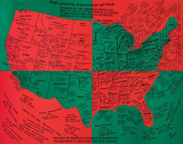"""Faith Ringgold, """"United States of Attica"""" (1972), offset lithograph on paper, 21 ¾ x 27 ½ inches (© 2018 Courtesy ACA Galleries, New York, © 2018 Faith Ringgold, member Artists Rights Society (ARS), New York)"""