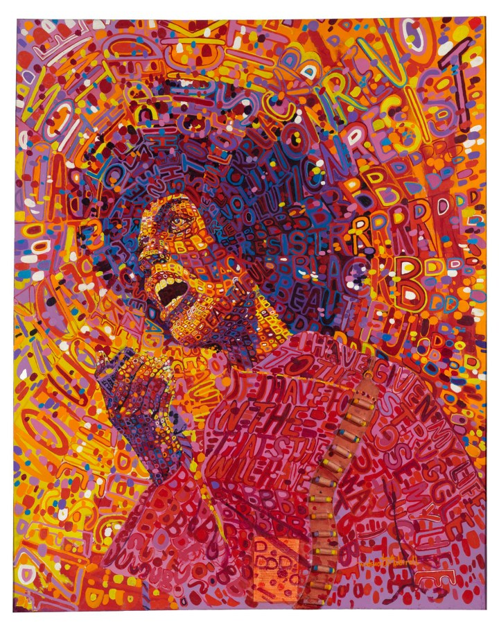 "Wadsworth A. Jarrell, ""Revolutionary (Angela Davis)"" (1971), acrylic and mixed media on canvas, 64 x 51 in. (© Wadsworth A. Jarrell, image courtesy the Brooklyn Museum)"