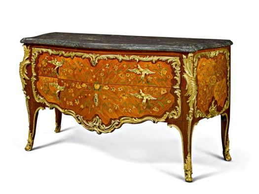 Mathieu Criaerd, a Louis XV gilt bronze-mounted tulipwood, amaranth and marquetry commode (c. 1755) with a Levanto marble top, some mounts with the crowned C mark, height 36 inches, width 65 inches, depth 28 inches (image courtesy Christie's)