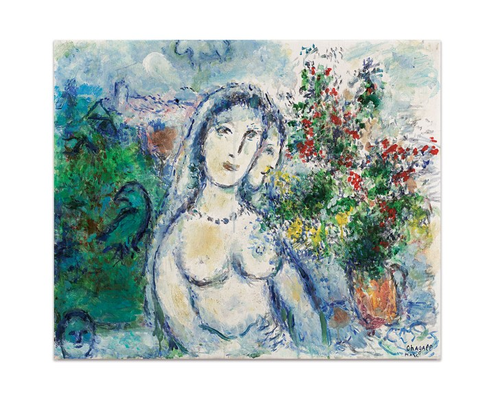 "Marc Chagall, ""La Mariée au Collier"" (1977–80), oil on canvas, 23 3/4 x 28 7/8 inches (image courtesy Sotheby's)"