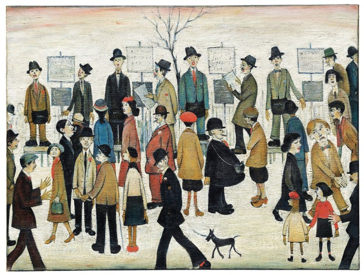"""Laurence Stephen Lowry, R.A., """"A Northern Race Meeting"""" (1956), oil on canvas, 30 x 40 inches (image courtesy Christie's)"""