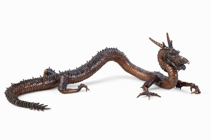 A copper articulated sculpture of a dragon, Meiji-Taisho period (early 20th century), 51 1/4 inches (image courtesy Christie's)