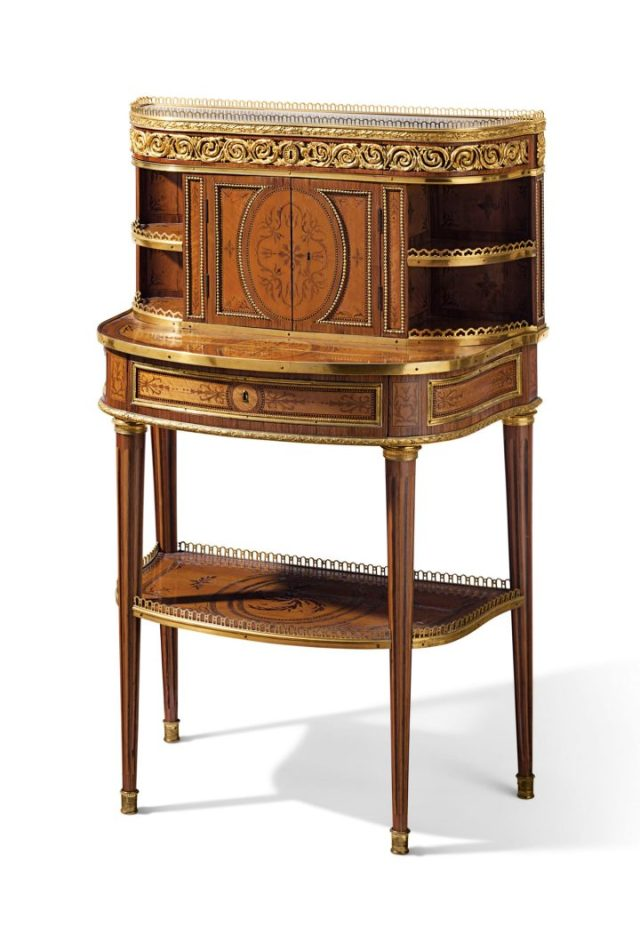 Roger Vandercruse, a Luis XVI ormolu-mounted bois citronnier, tulipwood and amaranth bonheur du jour (c. 1780), 43 inches high, 27 ½ inches wide, 16 ½ inches deep (image courtesy Christie's)