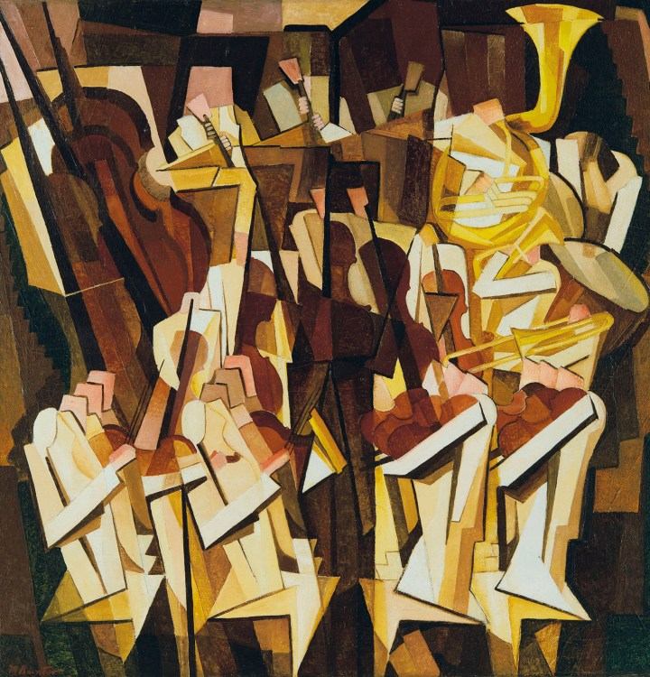 """Morris Kantor, """"Orchestra"""" (1923), oil on canvas, 35 1/4 x 34 1/4 inches (image courtesy Christie's)"""