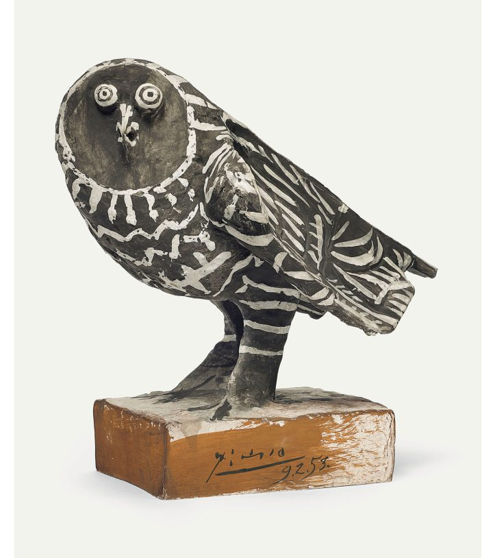 "Pablo Picasso, ""Le hibou gris"" (1953), painted earthenware, height: 13 5/8 inches (image courtesy Christie's)"