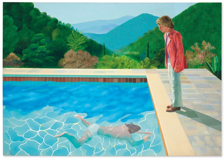 """David Hockney, """"Portrait of an Artist (Pool with Two Figures)"""" (1972), acrylic on canvas, 84 x 120 inches (image courtesy Christie's)"""