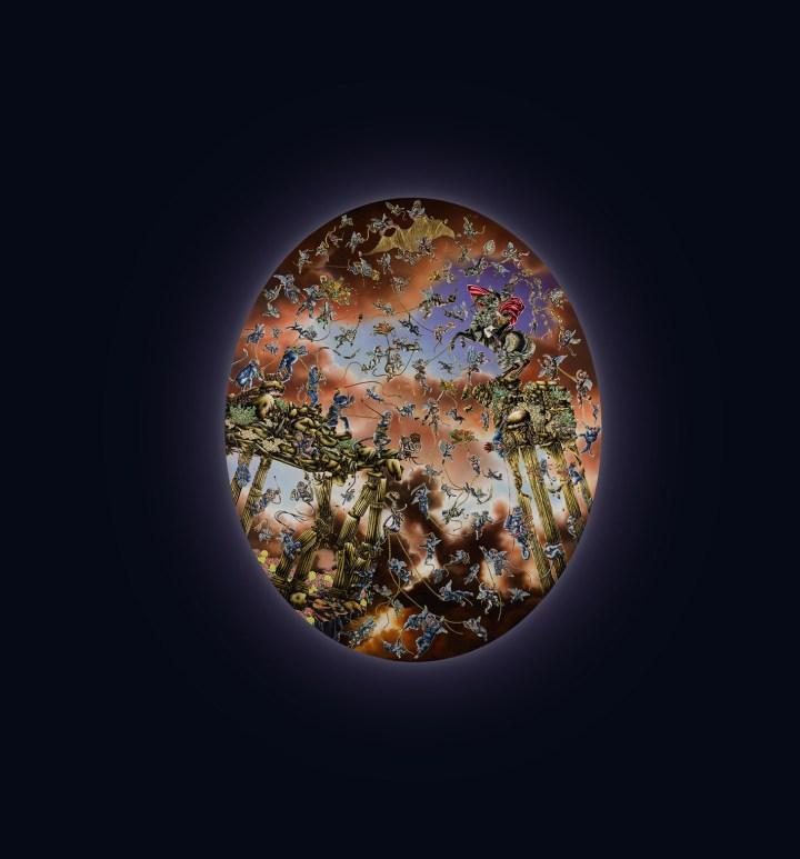 "Raqib Shaw, ""Napoleon I – Of Beasts & Super Beasts"" (2012), acrylic, enamel, and rhinestones on canvas, 73 1/4 x 59 1/2 inches (image courtesy Sotheby's)"
