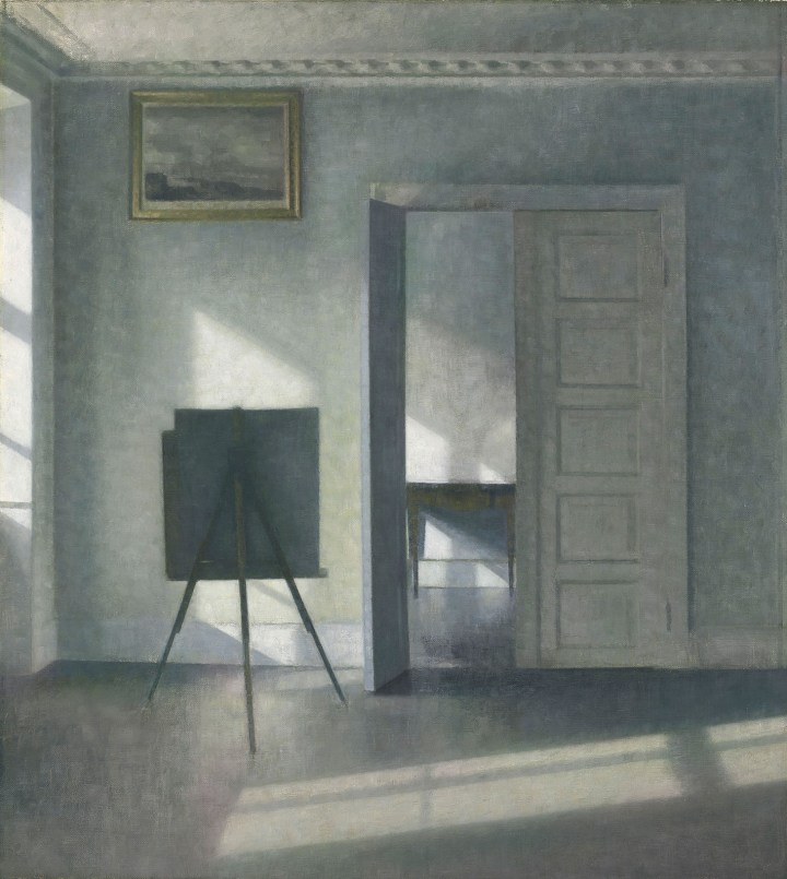 "Vilhelm Hammershøi, ""Interior with an Easel, Bredgade 25"" (1912) (image courtesy the J. Paul Getty Museum)"