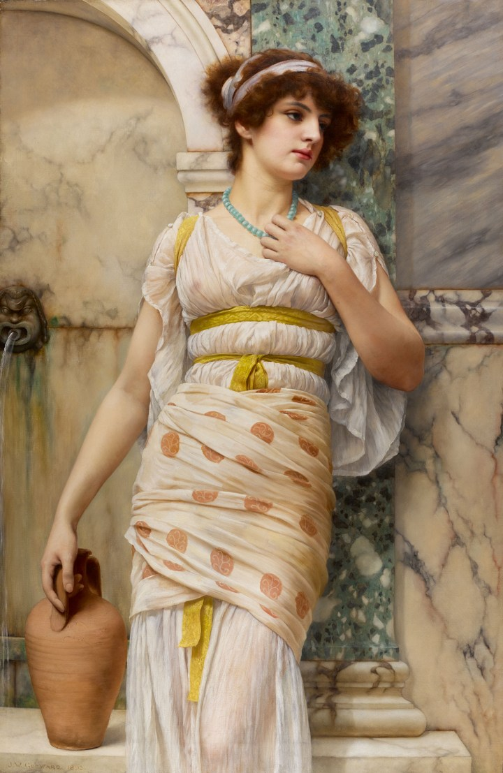 "John William Godward, ""At the Fountain"" (1893), oil on canvas, 55 x 37 inches (image courtesy Sotheby's)"