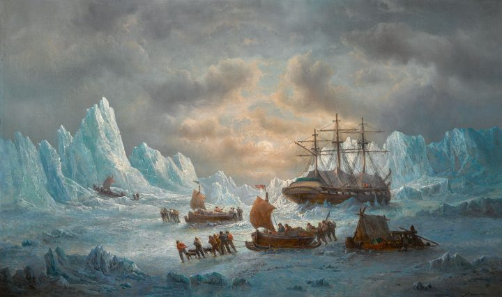 """François Etienne Musin, """"HMS Resolute in Search of Sir John Franklin"""" (1850), oil on canvas, 30 3/4 x 50 1/4 inches (image courtesy Sotheby's)"""
