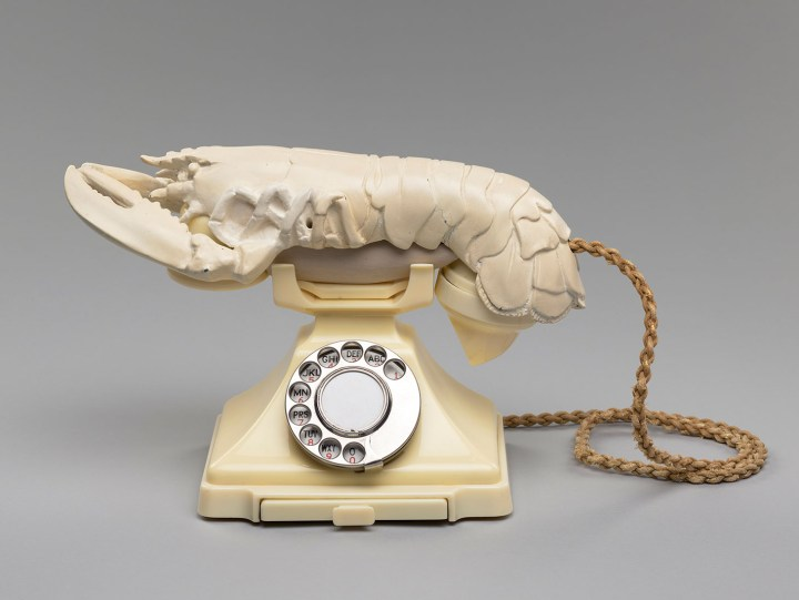 "Salvador Dalí ""Lobster Telephone"" (1938), painted plaster and Bakelite telephone, 21.3 x 31 x 17cm (image courtesy the National Galleries of Scotland, purchased by the Henry and Sula Walton Fund, with assistance from the Art Fund, 2018)"
